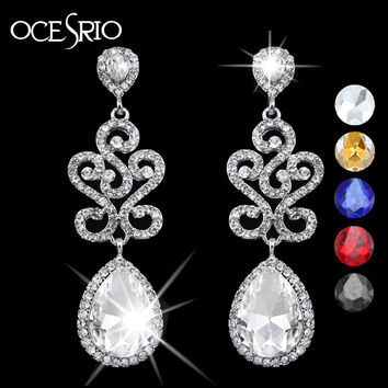 OCESRIO Brand Silver Crystal Wedding Earrings Long Rhinestone Bridal Earrings for Women Wedding Accessories mariage ers-g87