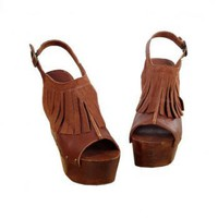 Suede Fringed Thick Clogs Coffee Sandals [AS0027] - $56.99 :