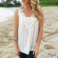 White  Lace Patchwork Strap Top