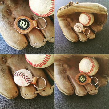 Baseball keychain. One side from a baseball, the other from a glove!