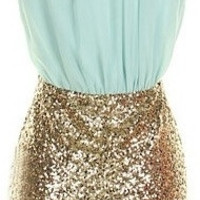 Colorblock Sequin Dress