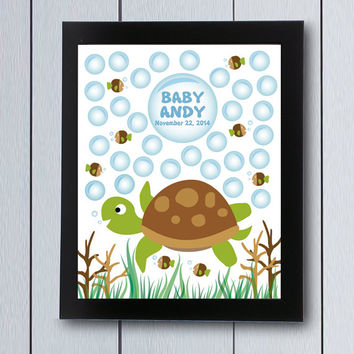 Guest Book Baby Shower birthday guestbook turtle signature / printable pdf / girl boy Babyshower ideas family children welcome fish bubles