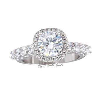 Pricila, A Flawless 3CT Round Cut Russian Lab Diamond Halo Engagement Ring