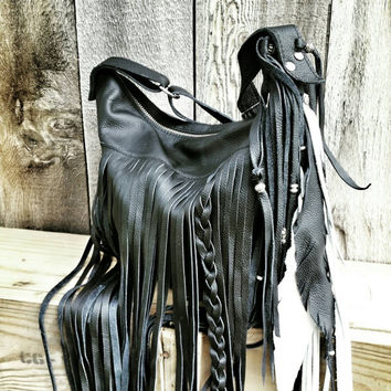Black And White Slouchy Leather Crossbody Handbag Fringe