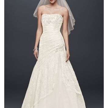 A-line Side Split Wedding Dress with All Over Lace - Davids Bridal
