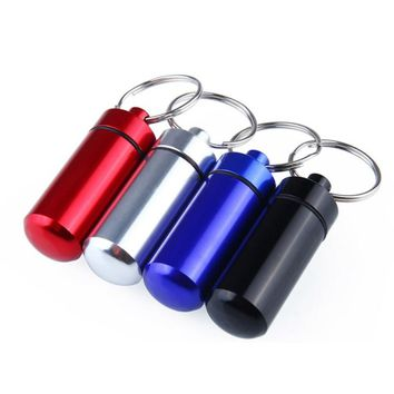 Portable Waterproof Container Box Aluminum Alloy Pill Medicine Storage Case Container Capsule First Aid Key Ring Keychain Tool