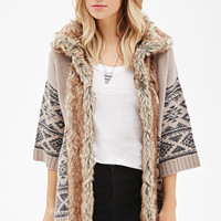 Faux Fur-Trimmed Southwestern-Patterned Cardigan