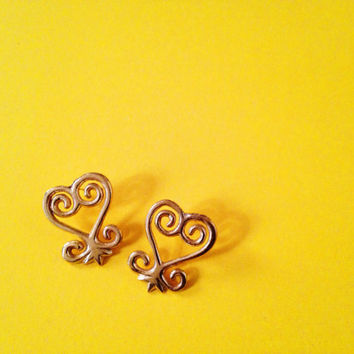 Sankofa Adinkra Stud Earrings// African Symbol Earrings, Adinkra African Symbols, Afrocentric Jewelry, African Jewelry, African Heart Studs