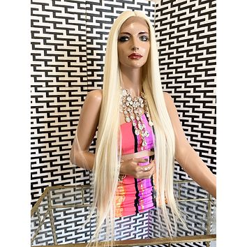 "BORDEAUX lace front wig 30"" long blonde hair"