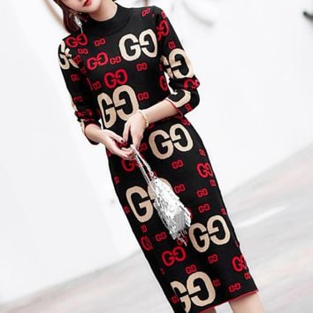 GUCCI Autumn And Winter New Fashion More Letter Keep Warm Women Long Sleeve Dress Black