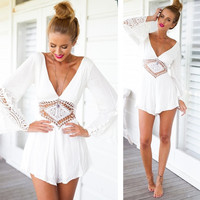 SEXY Women Deep V Neck Backless Playsuit Party Beach Dress Jumpsuit Shorts  7_S = 5657642497
