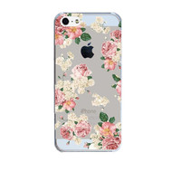 Flower Design Hard Plastic Transparent Phone Skin Back Case Cover For Apple iPhone 5 5S SE