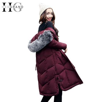 HEE GRAND Fur Collar Cotton Parkas Winter Coat Women X-Long Warm Jackets Snow Thickness Feathers Hooded Slim Outwear WWM1666