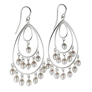Sterling Silver Freshwater Pearl Triple Hoop Drop Earrings