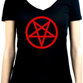 Red Inverted Pentagram Women's V-Neck Shirt Top Occult Clothing