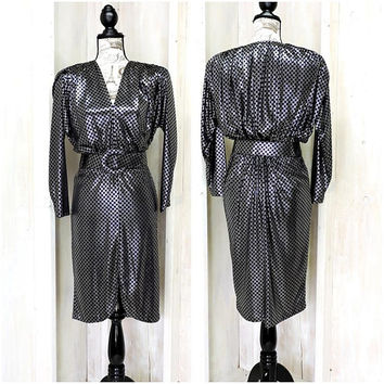 Vintage 80s metallic dress size S / iridescent dress / silver black 80s party dress / 80s clothing