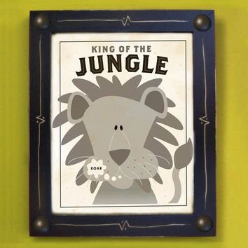 Lion Kids Framed Art Print King of the Jungle Black and by DexMex