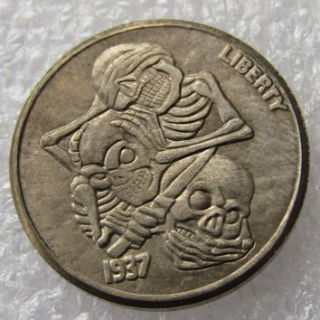 Hobo Nickel 1937-D 3-Legged Buffalo Nickel Rare Creative skull skeleton zombie Coin Copy High Quality
