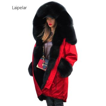 Women's  Laipelar Fur Cashmere Collar Outerwear Winter Hooded Parka Muje Long Paragraph Plus Size