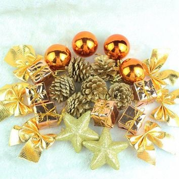 24Pcs  Gold Silver Hanging Balls Pine Cones Christmas Tree Party Decoration Ornament Decor For Home And Party Supplies