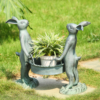 SPI Aluminum Bunny Gardeners Pot Holder