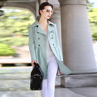 Multiple Color Double-Breasted Notched Collar A-Line Trench Coat