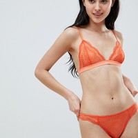 ASOS DESIGN Rio Lace Triangle Bra Set in Orange at asos.com