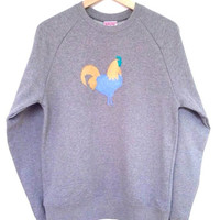 Cockerel Sweatshirt - lovely soft organic cotton sweatshirt with a hand stencilled chicken