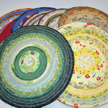 """Specks of Color on White -  Coiled Fabric Trivet - 6"""" - Shabby Chic, Reversible, Mat, Pad, Hot Pad, Mug Rug, Coaster, White, Pink, Yellow"""