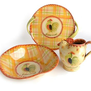 Plaid Rooster Serving Set I Bundle