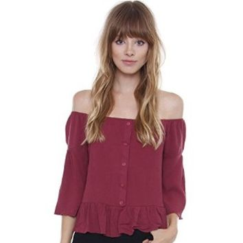 Junior's Burgundy Off Shoulder Peasant Top WT15110