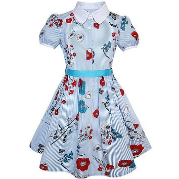Sunny Fashion Flower Girl Dress School Uniform Blue Strip Floral Gingham Cotton 2018 Summer Princess Wedding Party Size 4-10
