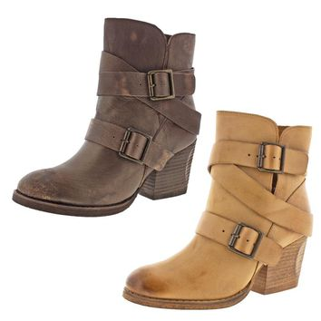 Women's Boots Booties Strappy Buckle Black Tan Chunky Block Heel Ankle Round Toe