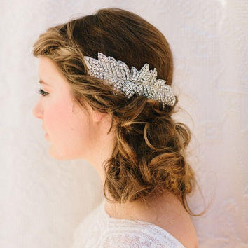Jasmine Rhinestone Fascinator Beaded Wedding Headpiece by LoBoheme