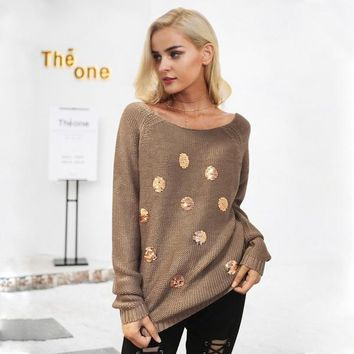 Sequins O Neck White Knitting Pullover Casual Long Sleeve Winter Sweater Jumper