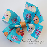Pinwheel Hairbow, Elsa Anna Hairbow, Frozen Hairbow, Toddler Hair Bows, Hair Clips, Petite Bows, 3 Inch, Toddler Hairbow, Snowman Hairbow