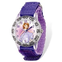 Disney® Princess Sofia Acrylic Case Purple Velcro Time Teacher Watch