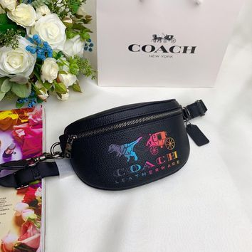 Kuyou Gb99822 Coach Belt Bag In Grained Leather With Carriage 22*12*4cm