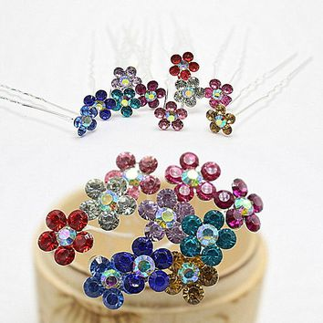 10pcs  Fashion Multi Colors Flower Crystal Wedding Brides Hairpins Rhinestone Hair Pins For Women  Hair Jewelry CZ-JD04