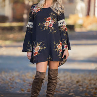 Fringy Florals Bell Sleeve Back Cut Out Shift Dress (Navy)