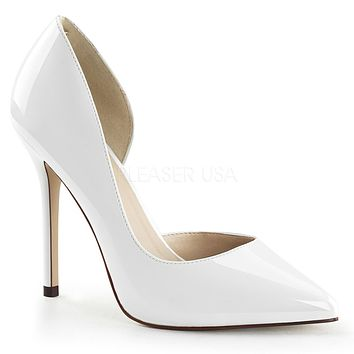 """Amuse 22 White Patent Pointy Toe Pumps 5"""" High Heel Shoes"""