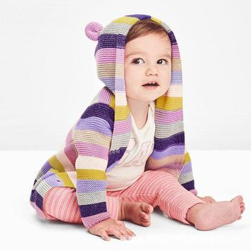 Baby Boys Girls Cardigan Knit Ear Cartoon Sweaters For Infant Toddler Cardigan For Kids Boy Girl 2018 Winter Warm Clothes 0-18M
