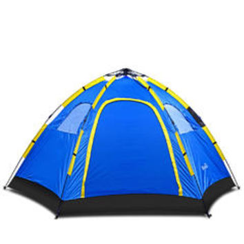 Hiking Camping Tent Large Family 6 Person Automatic Instant Pop up Rain Resistant Polyester Indoor Outdoor Easy Fold Back Blue - Sears