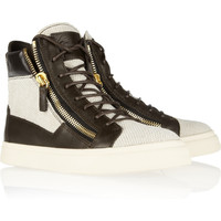 Giuseppe Zanotti | Leather-trimmed woven high-top sneakers | NET-A-PORTER.COM