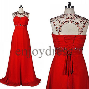 Custom Backless Red Beaded Long Prom Dresses Evening Dress Party Dress Wedding Party Dress Sexy Open Back Dress Party Sexy Evening Gowns