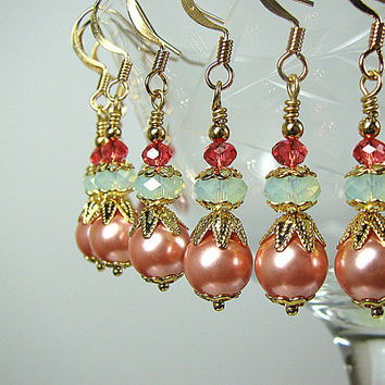 Peach and mint green earrings Crystal and pearl beaded earrings Bridesmaid jewelry Prom wedding bridal jewelry Beaded jewelry