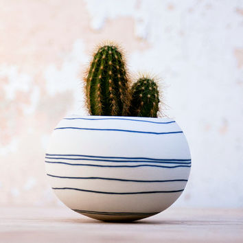 colorful porcelain planter (dark blue / black stripes). Ceramic planter for, cactus, succulent or air plant. Crafted by Wapa Studio.