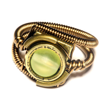 Steampunk Jewelry - Ring - Vintage Uranium Vaseline Glass