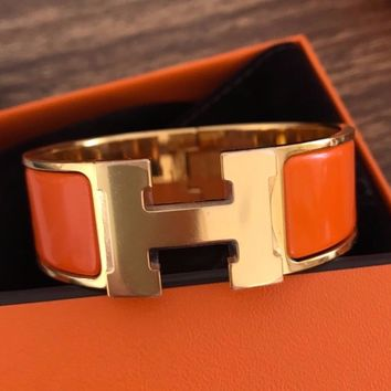 "Hermes Clic Clac 1"" Orange Gold Hardware Enamel Bracelet GM Plastic"