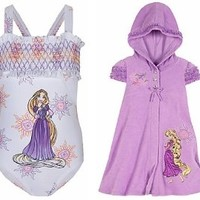 Disney Store Tangled Princess Rapunzel 2-Piece Swimsuit Gift Set with 1-Piece Bathing/Swim Suit and Hooded Cover Up Hoodie Dress for Girls Size Medium 7/8